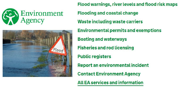 Link to Environmental Agency main website.